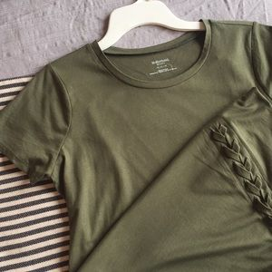 Army Green Maternity Tee shirt lace front